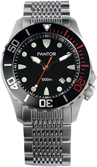 Automatic Pro Diver Watches Pantor Seahorse 1000m Big Size 45mm with Helium Valve Rotating Bezel Sapphire Stainless Steel Bracelet & extesion Buckle