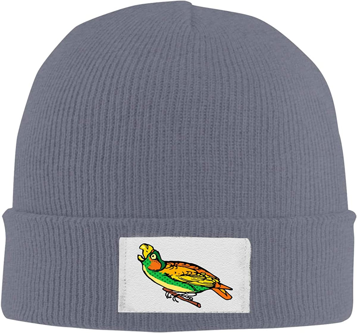 Stretchy Cuff Beanie Hat Black Skull Caps Coloured Parrot Winter Warm Knit Hats