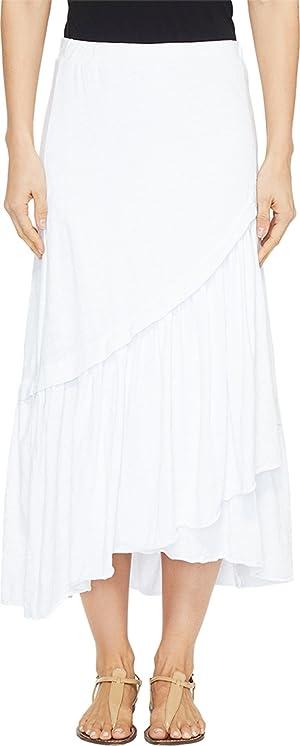 Mod-o-doc Womens Slub Jersey Asymmetrical Ruffle Hem Midi Skirt