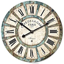 "Decoration Vintage Clock Dial - Eruner France Paris Rural Tuscan Style 16-inch Wooden Wall Clock Roman Numerals Retro Decor Wall Art for Livingroom Office Cafe(16"", #03)"