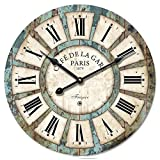 12″ Flower Vintage Wooden Wall Clocks – Eruner Decorative Wall Clocks *Cafe De La Gare* Retro Wall Clocks Large Wall Clocks(#03) Review