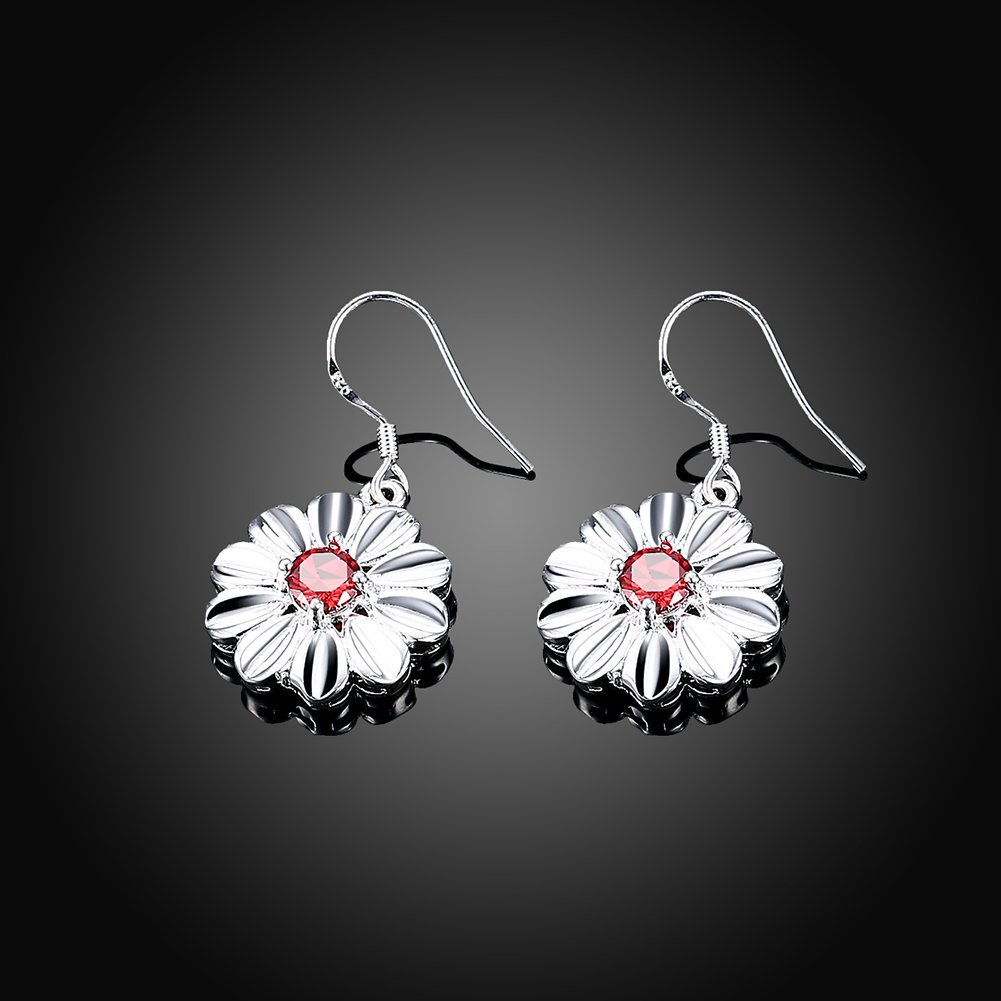 MXYZB Silver Plated Daisy Flower Dangle Earrings Red Cubic Zirconia Jewelry for Women Girls by MXYZB (Image #4)