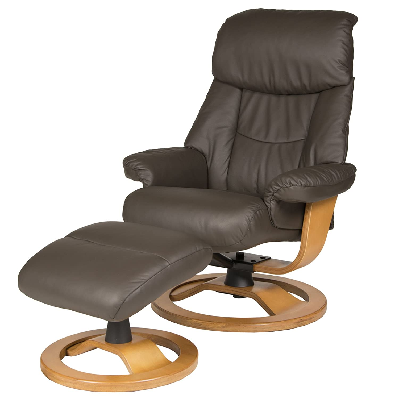 Relax Stuhl Teramo mit Hocker Leder braun