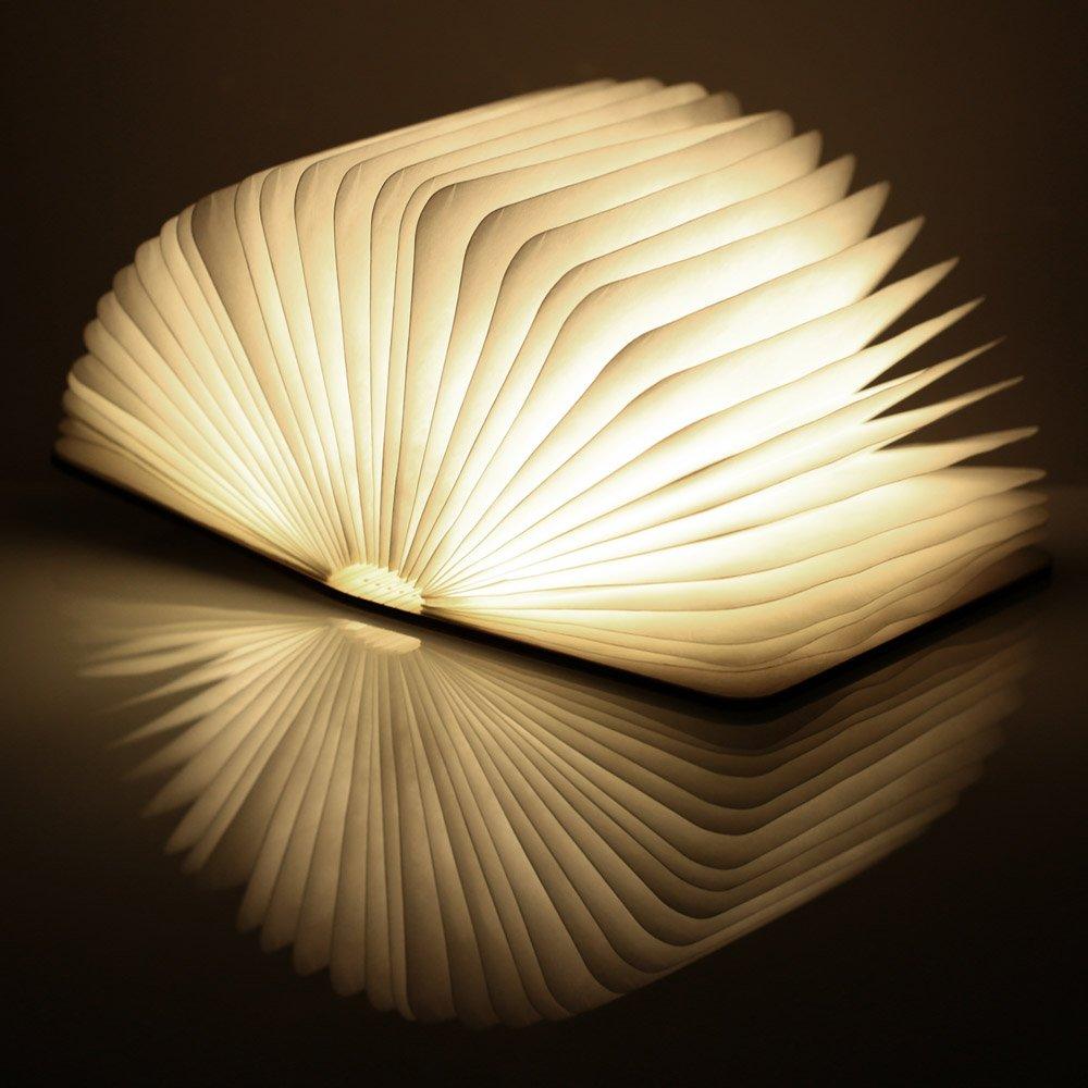 USB Rechargeable Wooden Folding LED Book Light for Decor/Desk ...