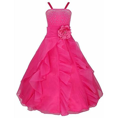 iEFiEL Girls Flower Dress Ruffle Organza Wedding Pageant Bridesmaid Formal Prom Ball Gown