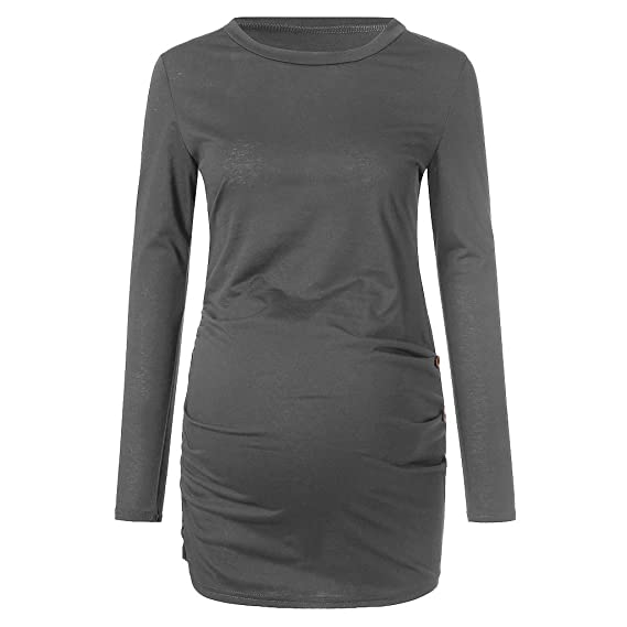 YiYLinneo Camisa de Embarazo de Maternidad Linda Camiseta para Mujer Top Mangas Cortas Camiseta de la Blusa de Maternidad Algodón Mujer Ropa Premamá: ...