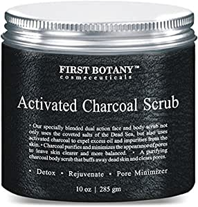 The BEST Charcoal Scrub 10 oz.- Best for Facial Scrub, Pore Minimizer & Reduces Wrinkles, Acne Scars, Blackheads & Anti Cellulite Treatment - Great as Body Scrub, Body & Face Cleanser