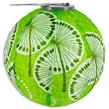 Allsop Home and Garden 10-Inch Round Soji Solar Lantern Green/White