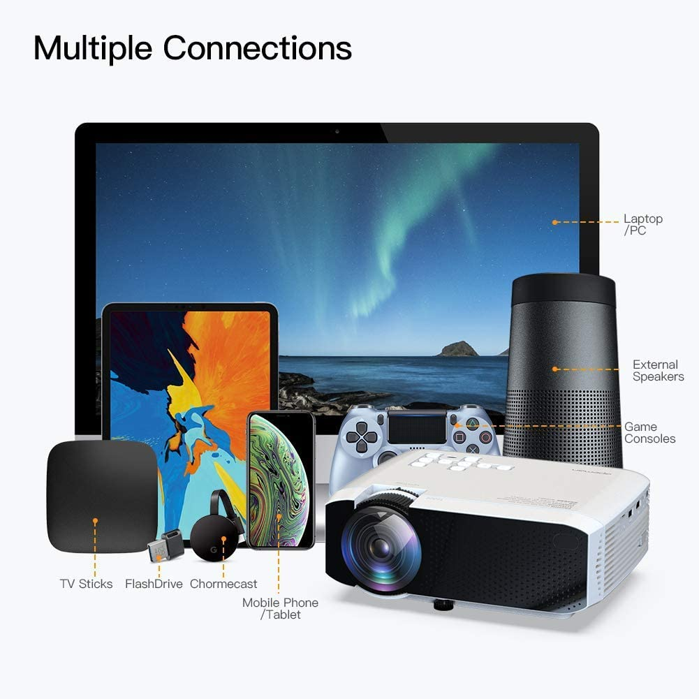 Proyector APEMAN 3800 Lúmen Mini Proyector Portátil LCD Proyector ...