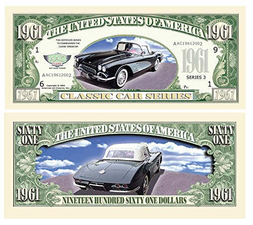Set of 10 - 1961 Corvette Convertible Novelty Money Bill