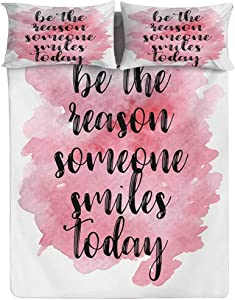 Hiiiman Quote Fitted Sheet Twin Size,Be The Reason Someone Smiles Today Calligraphy on Pinkish Watercolor Spot Decorative Printed 2 Piece Bedding Decor Set,Elasticized Deep Pocket Fits All Mattresses
