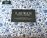 Lauren 4 Pc.King Sheet Set French Country Floral Blue and White 100% Cotton