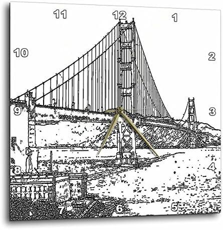 3dRose Golden Gate Bridge San Francisco Line Art – Wall Clock, 15 by 15-Inch DPP_21693_3