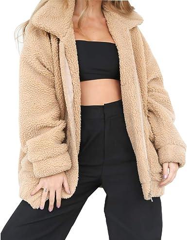 Eoeth Womens Coat Casual Lapel Fleece Fuzzy Zipper Warm Winter Oversized Outwear Jackets