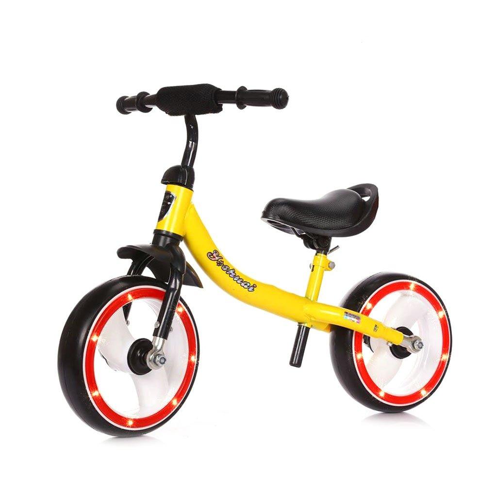 子供用スクーターペダルなしバギー子供ダブルホイール自転車子供用スクーター無ペダル2輪スクーター2ラウンドバランス2歳から8歳までのカーウォーカー B01LZ4RQQX イエロー いえろ゜ イエロー いえろ゜