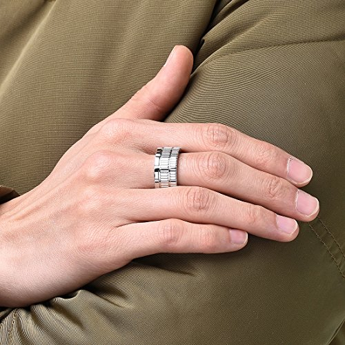 King Will 10.6mm 316 Stainless Steel Wedding Band Ring with Sawtooth Pattern Curved in Base&Inner Surface Matte(10) by King Will (Image #4)