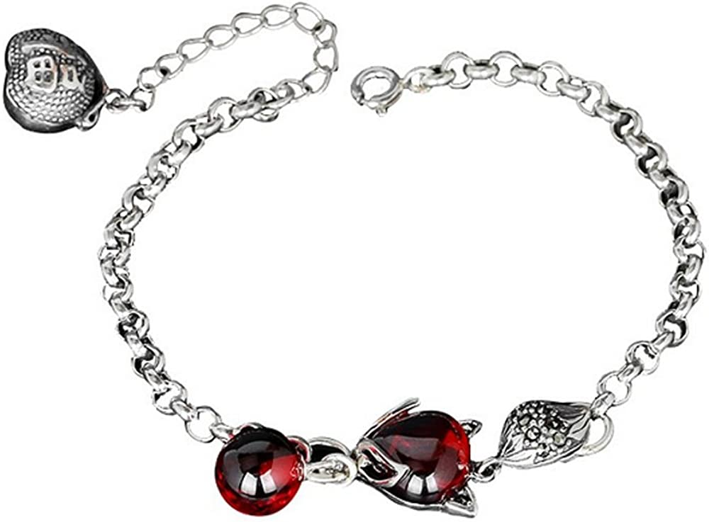 Sterling Silver w//14k Garnet Antiqued Key w//Lobster Clasp Charm