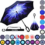 Z ZAMEKA Double Layer Inverted Umbrellas Reverse Folding Umbrella Windproof UV Protection Big Straight Umbrella Inside Out Upside Down for Car Rain Outdoor with C-Shaped Handle