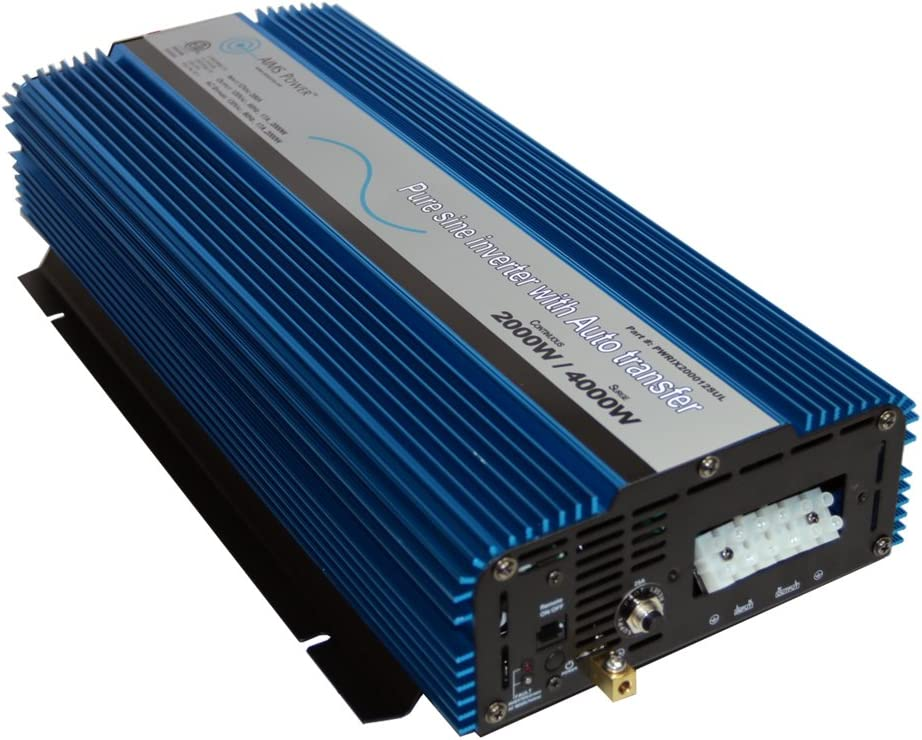 AIMS Power 2000 Watt Inverter 12 VDC to 120 VAC 60Hz ETL Listed to UL458 Standard with Transfer Switch - Hardwire