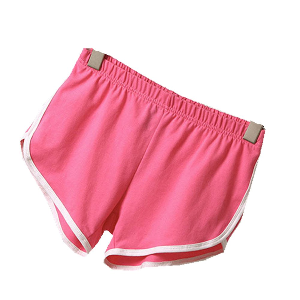 AILNT Women Summer Mini Hot Sports Shorts Gym Workout Yoga Short (Small, Pink)