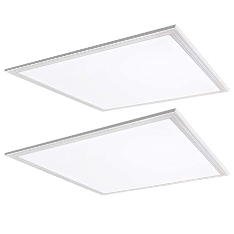 Hykolity 2x2 Ft White Led Flat Panel Troffer Light 40w 4000k Recessed Edge Lit Drop Ceiling Light 4200lm Lay In Fixture For Office 0 10v Dimmable