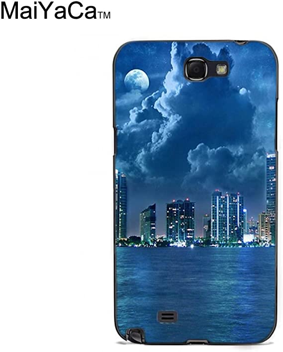 Amazon Com Maiyaca Tm M84717 City Lights At Night Blue Sea Hd Wallpaper Phone Case For Samsung Galaxy Note2