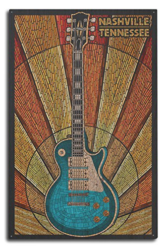 Nashville, Tennesseee - Guitar Mosaic (10x15 Wood Wall Sign, Wall Decor Ready to (15w Retro Guitar)