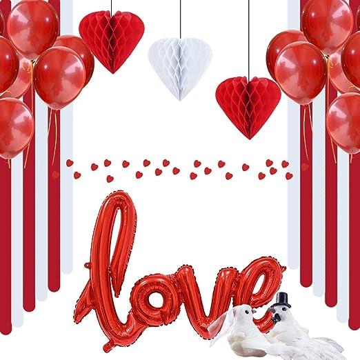 Easy Joy San Valentín Deco corazón Papel Rojo de Techo Love balón ...