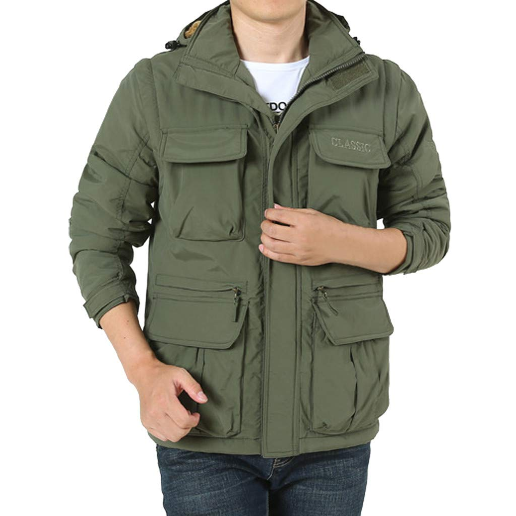 LUKALUKADA Men's Detachable Sleeve Hooded Outdoor Plus Velvet Mountaineering Sportswear Solid Zipper Pockets Coat Army Green by LUKALUKADA-Mens Coat