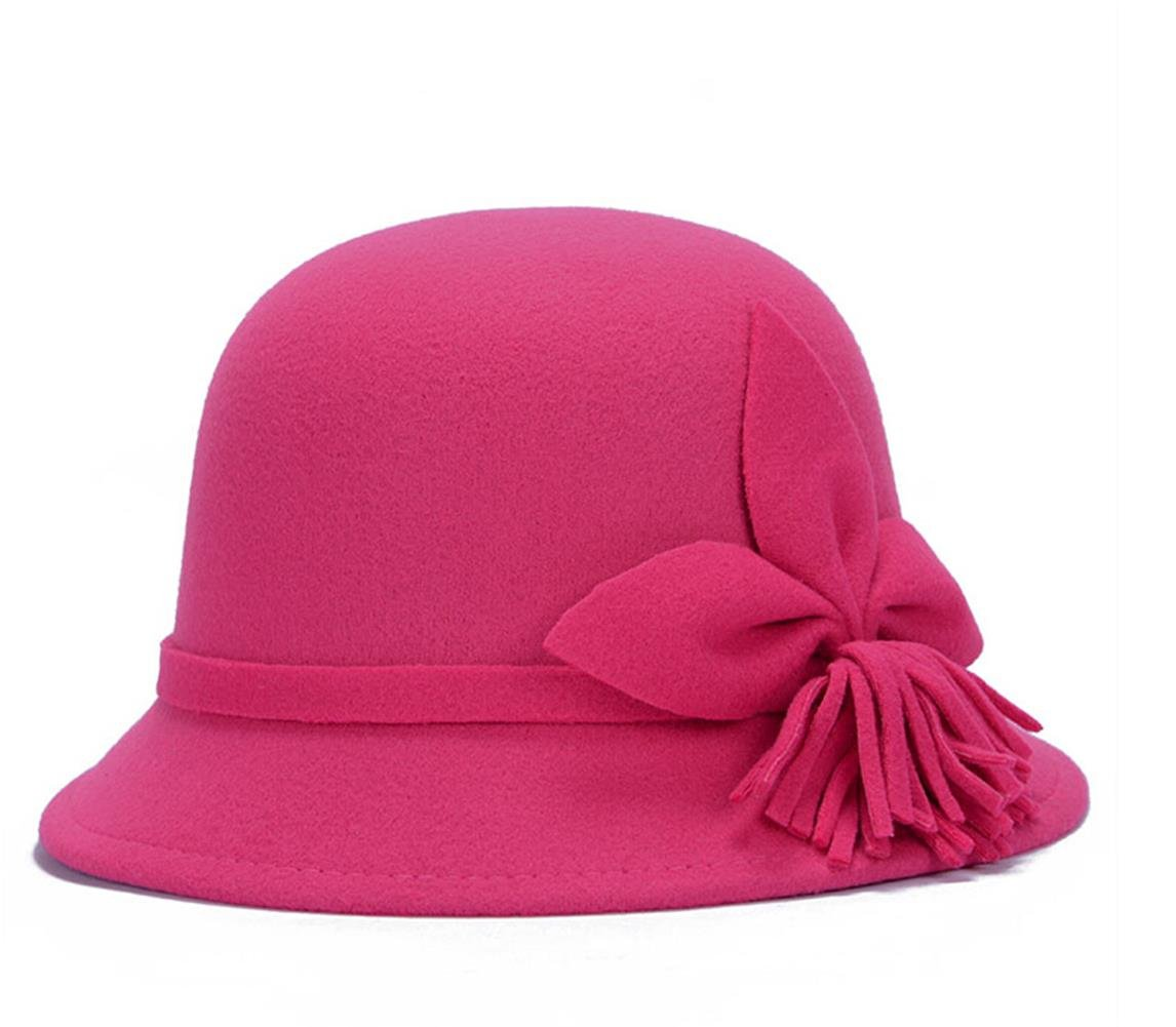 Fahion Style Woolen Cloche Bucket Hat with Flower Accent Winter Hat for Women (Rose-C)