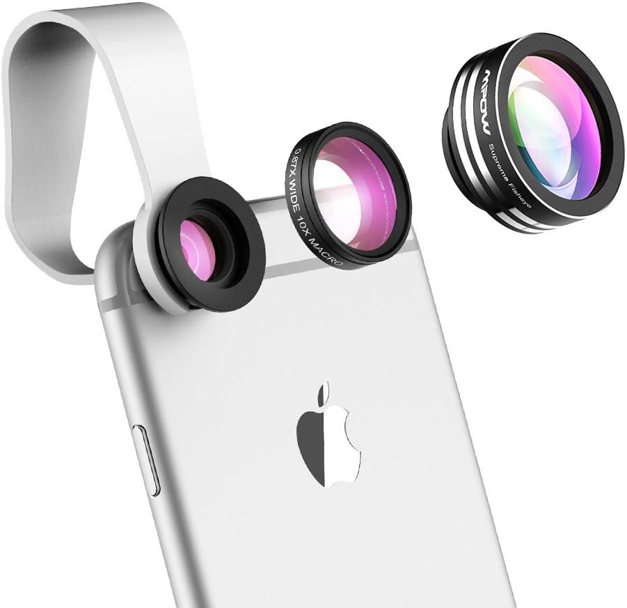 Mpow 3 en 1 Kit de lentes para teléfono y lente, Lente Ojo de Pez de 180°,0.65X Gran Angular,Lente Macro 10X para Smartphone iPhone X/8/7/SE/6/6 Plus/5S/5C/4S, Samsung, Huawei, Honor, xiaomi etc