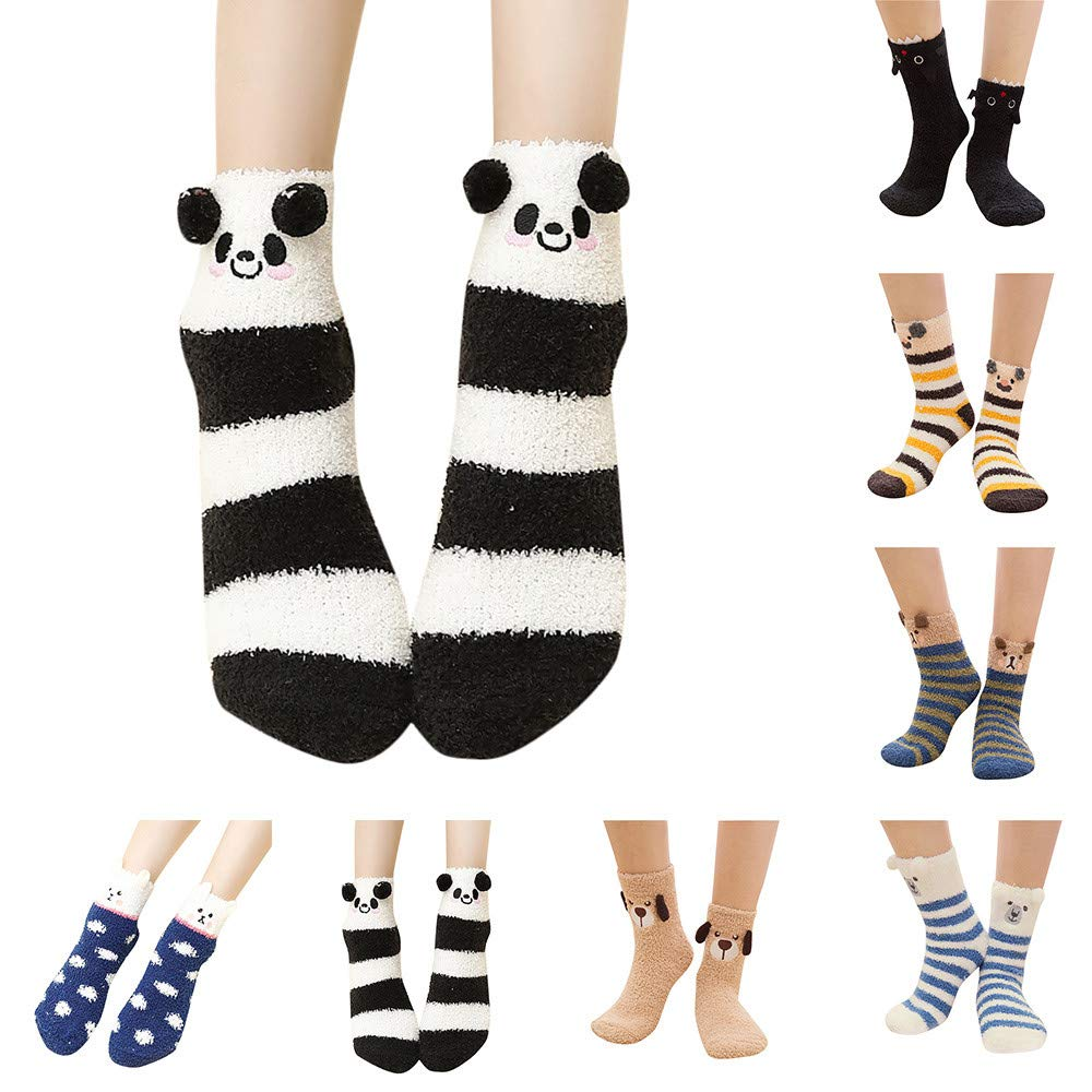 b1cf7ab9be1 Amazon.com  Cinhent Socks Women Men Animal Socks Winter Warm Fluffy Bed  Sleep 1-6 Pairs  Clothing