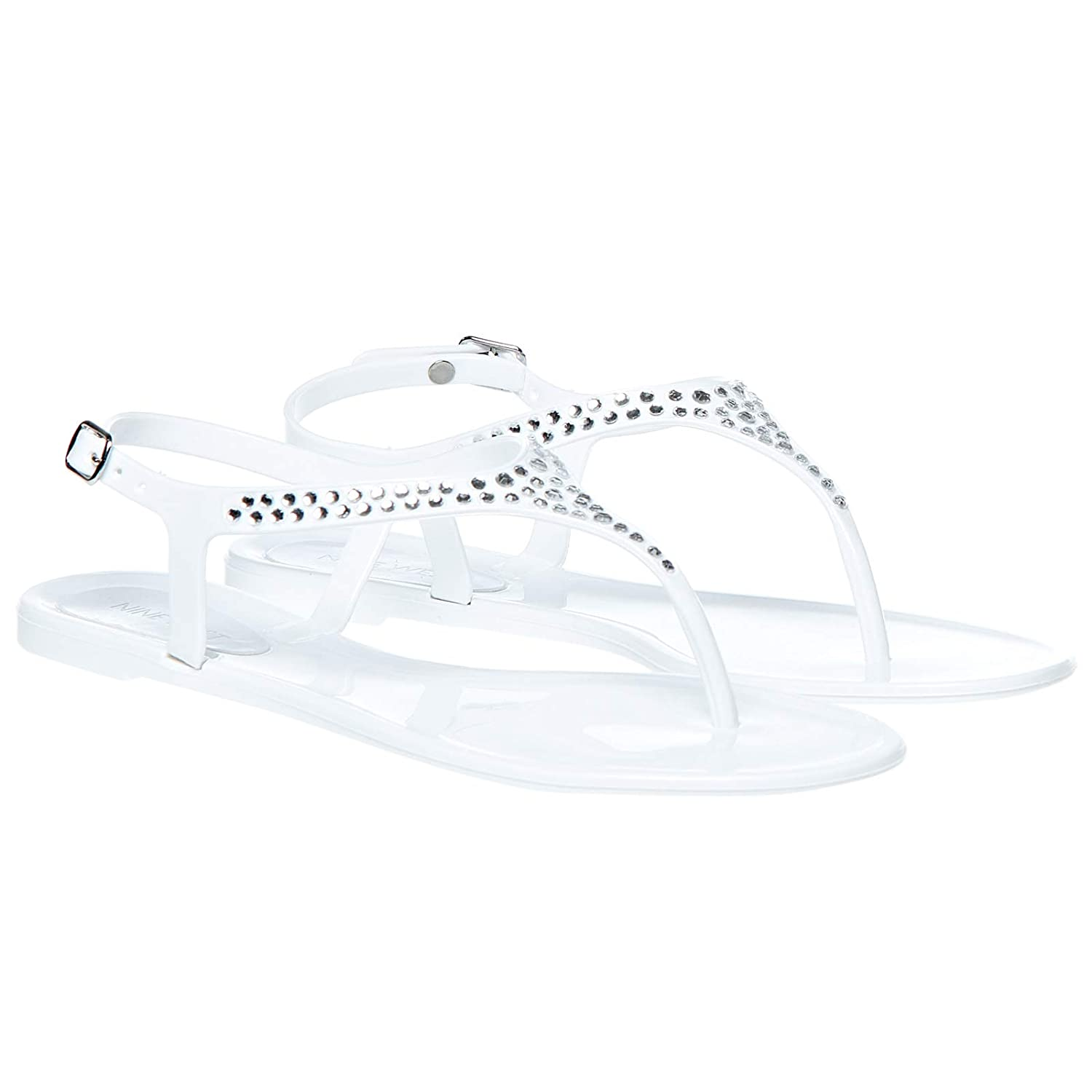 0029b13a67e19f Nine West Women White Plastic Sandals  Buy Online at Low Prices in India -  Amazon.in
