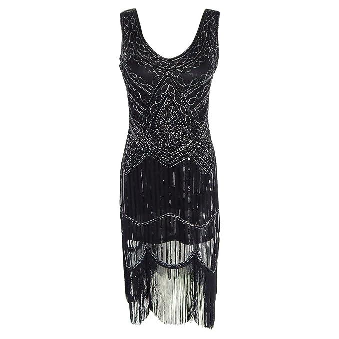 Lentejuelas Mujer Vestido Brillante Vestido Vestido Vintage de charnela Gatsby Gran Gatsby Charleston Sequin Borla Vestido de Fiesta: Amazon.es: Ropa y ...