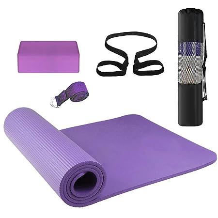 Púrpura 3Pcs Yoga Mat bloques de estiramiento de yoga Yoga ...