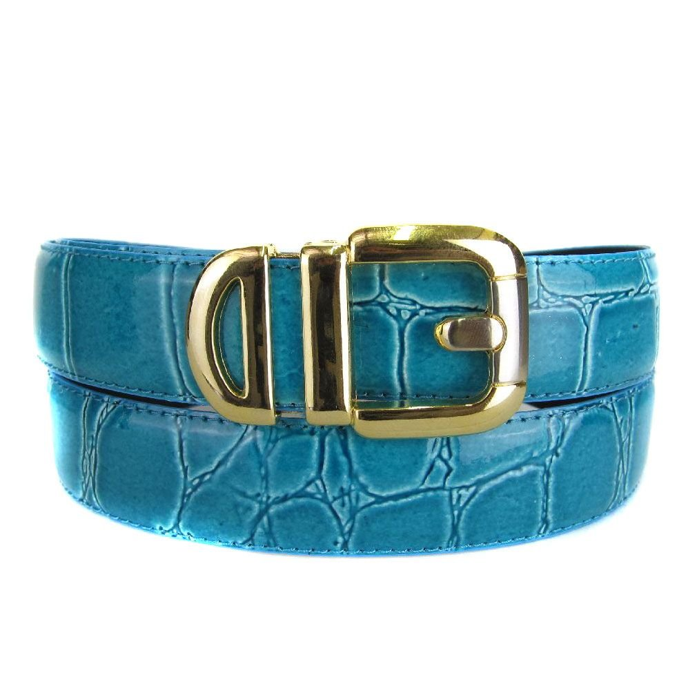Aqua Bonded Alligator Skin High Quality Fashion Dress Belt