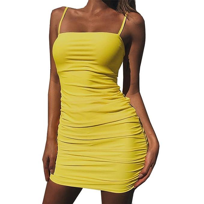 552f2511d26c waitFOR Vestiti Donna Estivi✿✿Vestitino Sexy Vestiti Donna Eleganti Corti  Moda Donna Sexy Solid Cinghie Senza Maniche Sling Casual Club Bodycon Mini  ...