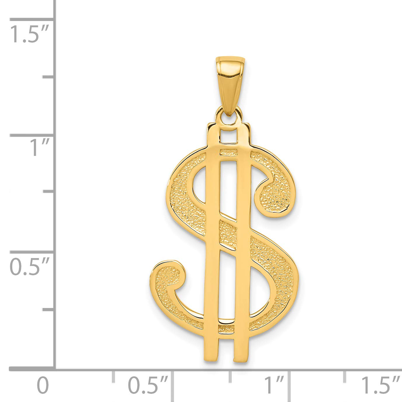 14K Yellow Gold Polished and Textured Dollar Sign Pendant