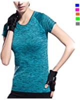 Activewear Shirt Women, Sleeve Round Neck Workout T-Shirt, Girl Moisture Wicking Athletic T Shirts, Loose Tee, Sportwear Quik Dry, For Running Yoga Exercise, Blue Green Red Grey Orange, Size L M S