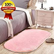 SANMU Soft Velvet Silk Rugs Simple Style Modern oval Shaggy Carpet Fashion Bedroom Mat for Dining Room, Living Room Pink Rugs for Girls Room Home Decor 2.6' X 5.3' Pink