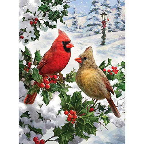 Bits and Pieces - Cardinal Couple Glitter 1000 Piece Jigsaw Puzzles for Adults - Each Puzzle Measures 20