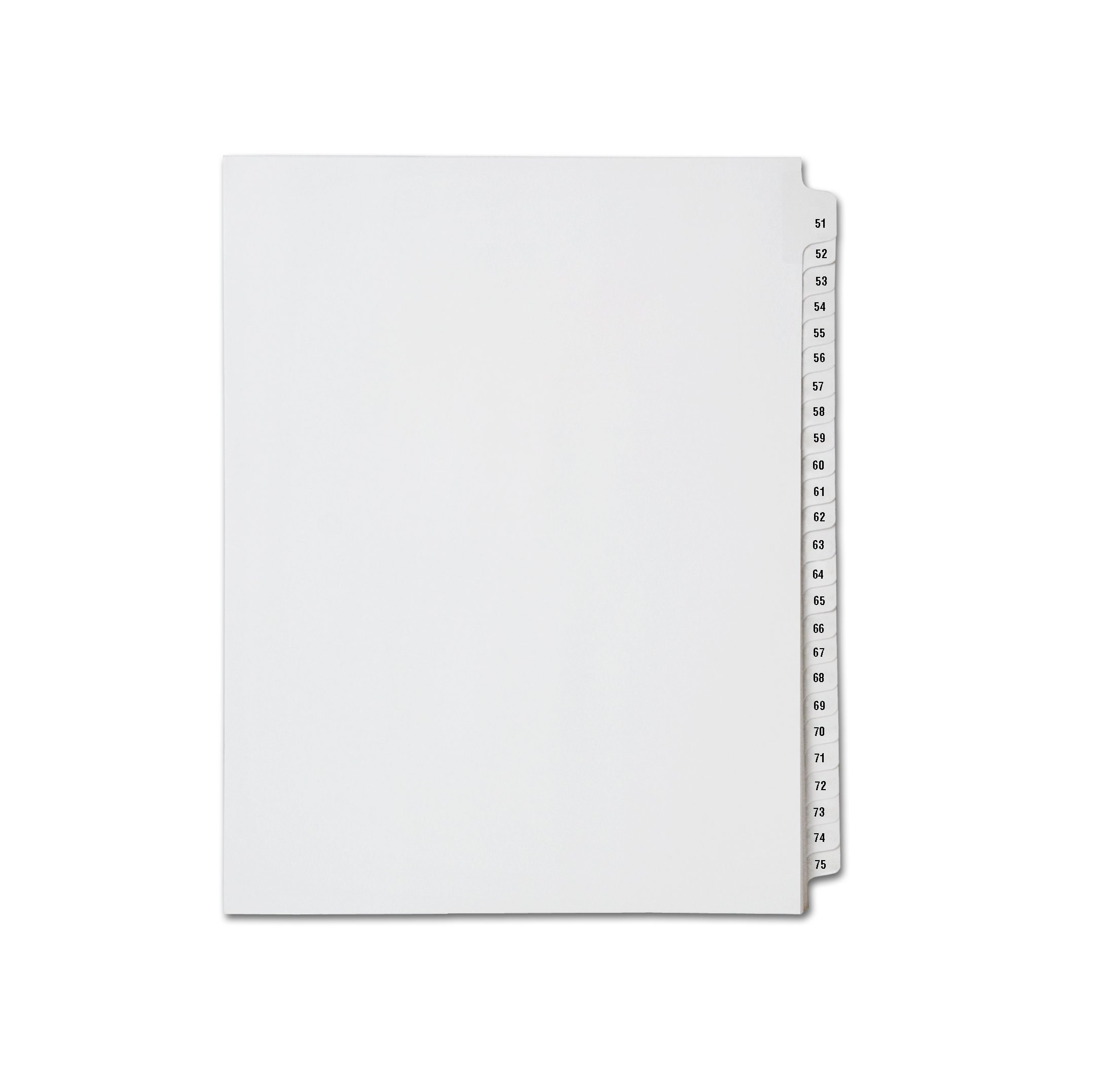 AMZfiling Collated Legal Index Dividers, Compatible with Avery- Numbers 51-75, Letter Size, White, Side Tabs (25 Sheets/pkg)