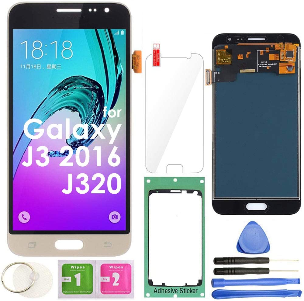 2016 MMOBIEL Front Glass Replacement Compatible with/Samsung Galaxy J3 Black Display Touchscreen incl Tool Kit J320