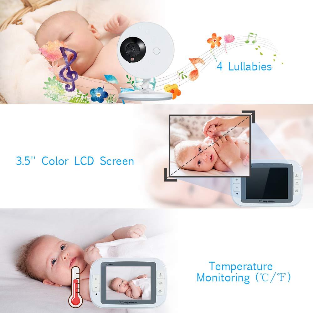 Festnight 3,5 Pulgadas de Color LCD Monitor de Video Digital inal/ámbrico para beb/és con Lullabies Visi/ón Nocturna por Infrarrojos Respuesta bidireccional monitoreo de Temperatura Bater/ía AC100-240V