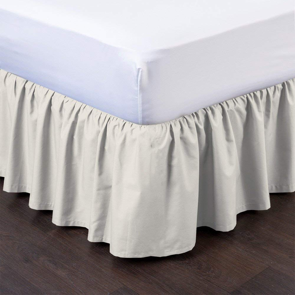 Ruffle Gathering Bed Skirt With Split Corner Three Side Coverage Polyester White