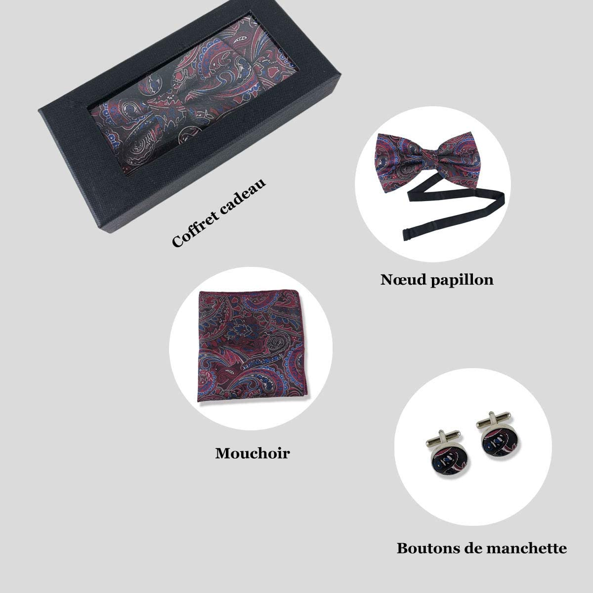 Coffret cadeau dun ensemble de Noeud papillon carreau paisley mouchoir de poche et boutons de manchette classique