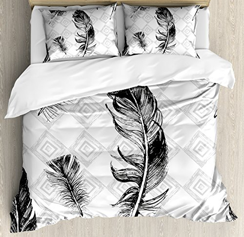 Ambesonne Feather Duvet Cover Set Queen Size, Faded Geometric Backdrop Nested Squares Mosaic Pattern Fluffy Wings Fly, Decorative 3 Piece Bedding Set with 2 Pillow Shams, Black White Pale Grey