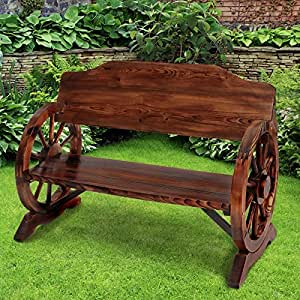 Miadomodo - Banco de jardín en forma rústica - de madera de pino - aprox. 113/59/81 cm