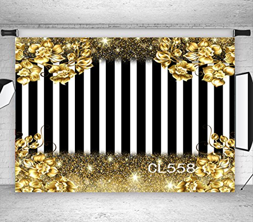 LB Black and White Striped Backdrops 9x6ft Vinyl Stripe and Gold Rose Flower Photo Background for Birthday Party Wedding Event Customized Photo Booth Backdrop Props ()