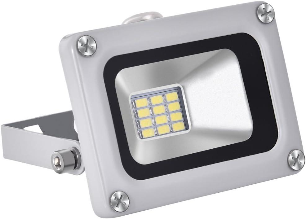 Luz de LED Fluorescente DC12V-24V 10W Blanco frio,Luz de Inundación,Mini Proyector de Iluminación IP65 Impermeable Foco Exterior,1000LM Proyector para Garaje de Jardín,etc.